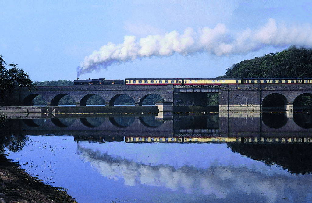 train over reservoir