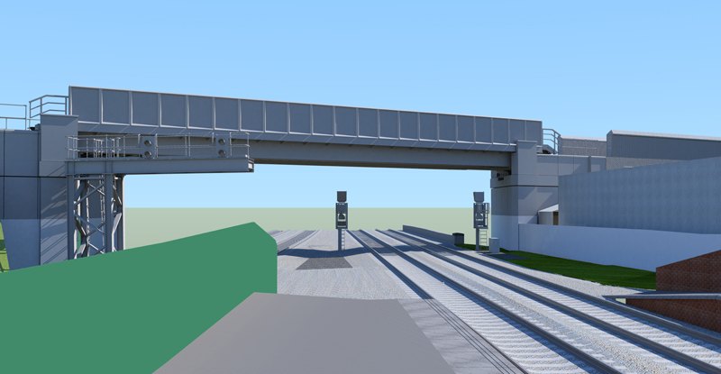 An artist's impression of the new bridge from the Loughborough Midland platform. FJD Consulting