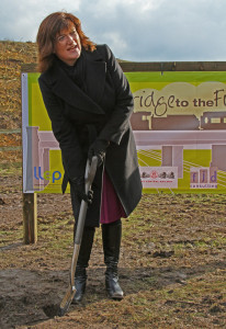 10.Nicky Morgan, the MP for Loughborough, cuts the first sod on 12th February, 2016 to start the project to build the new GCR bridge over the Midland Main Line at Loughborough. Graham Wignall