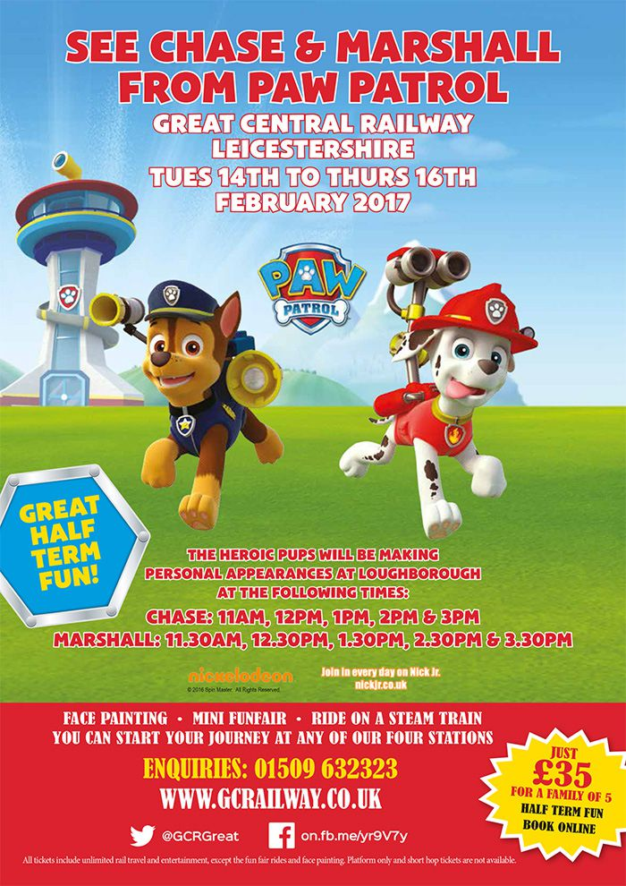 See Chase & Marshall from Paw Patrol   Great Central Railway