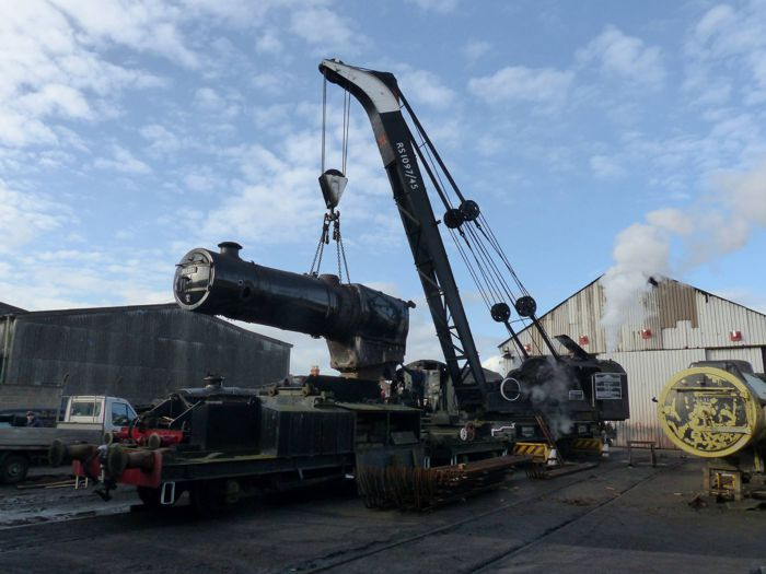 45305's boiler is lifted from the frames. Photo: David Thompson.