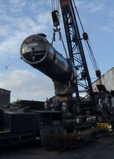 45305's boiler is craned into position having been lifted from the loco frames. Photo: David Thompson.