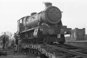 """Witherslack Hall - The preservation story begins."" - 6990 arrives to begin restoration in November 1975. Photo © W.R. Squires Collection"