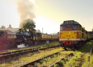 """Sharing the golden sunlight of a May evening, Class 2 and Type 2 on the Great Central."" - Photo © Great Central Railway/AJM"