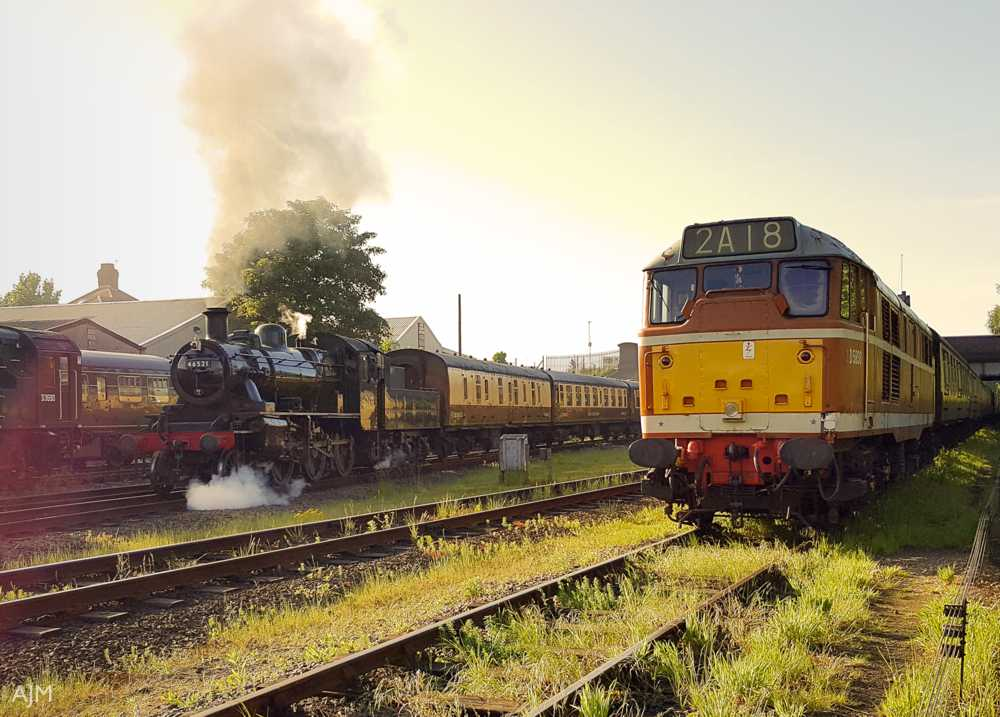 """Sharing the golden sunlight of a May evening, Class 2 and Type 2 on the Great Central."" - Andrew Morley"