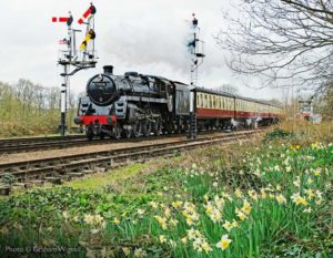 """Spring flowers set the scene for passing steam."" - Photo © Graham Wignall"