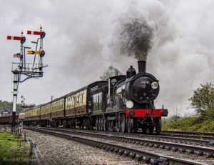 """Drummond's majestic T9 makes swift progress through the winter gloom."" - Photo © Stephen Bottrill"