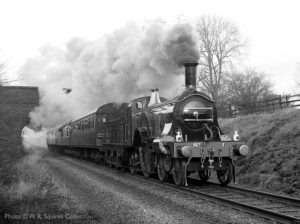 """Thirty-eight years ago, an early express locomotive made a very popular visit to the Great Central."" Built in 1870, the Stirling Single is now preserved at the National Railway Museum. - Photo © W.R. Squires Collection."
