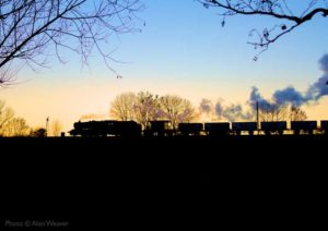 """Nightfall beckons as a Stanier Class 8 marches on with a mineral train."" - Photo © Alan Weaver."