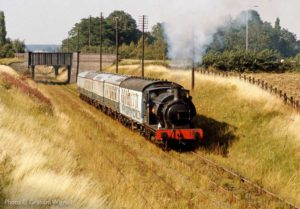 """Fond memories of the early days of preservation - Forward!"" This image from the early 1970s shows Robert Nelson Number 4 steaming towards Quorn & Woodhouse. The former Down line on the left was later lifted by British Rail, but double-track has since been reinstated during the preservation era. - Photo © Graham Wignall."