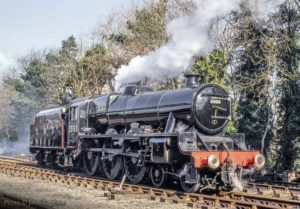 """Stanier's Jubilee - a fine design of locomotive built for hauling passenger trains at speed"". A gleaming 5593 ""Kolhapur"" stands at Rothley awaiting her next turn of duty. -Photo © John Bagshaw."