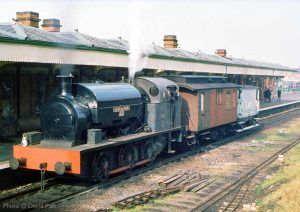 """""""Celebrating the early days of preservation. Littleton No.5 stands at Loughborough Central in the summer of 1973."""" - Photo © David Putt."""