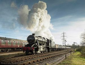 """""""Stanier's Class 8 design was selected by the War Department for large scale production during the Second World War. 48624 is the only remaining example of a Southern Railway built member of the class, and was completed at Ashford Works in 1943."""" - Photo © John Smith."""