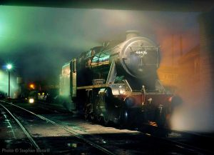 """At the day's end, an 8F rests on shed..."" On this occasion, 48305 was appearing as 48476. - Photo © Stephen Bottrill."
