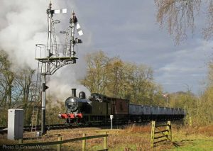 """""""Green for the Up Loop.... 47406 is signalled into the Up Loop at Swithland Sidings with a train of empty mineral wagons."""" - Photo © Graham Wignall."""