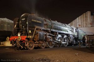 """""""The magnificent 'Oliver Cromwell' stands on shed after another busy turn of duty."""" 70013 """"Oliver Cromwell"""" appears courtesy of the National Railway Museum. This popular locomotive is currently being overhauled and will steam again at the Great Central. - Photo © Andrew Royle."""