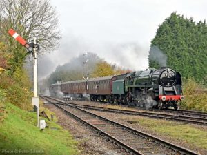 """""""An arrival at Quorn & Woodhouse signals the start of another day on the Great Central."""" - Photo © Peter Salmon."""