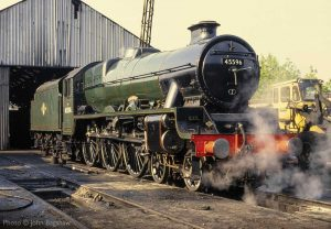 """""""Built for main line passenger work, Stanier's Jubilees were popular and successful members of the LMS fleet. 45596 'Bahamas' stands on shed at Loughborough in the mid-1990s."""" - Photo © John Bagshaw."""