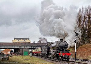"""""""With power and purpose, popular K1 62005 accelerates away from Loughborough Central."""" - Photo © Alan Weaver."""