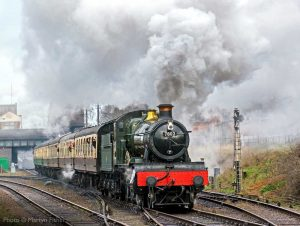 """""""Loughborough Central is the stage for an impressive departure from a visiting GWR Manor."""" - Photo © Martyn Fisher."""
