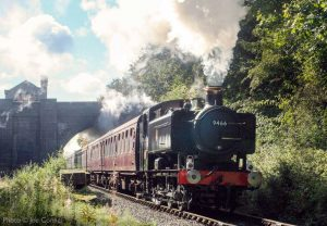 """""""A morning passenger train bursts into bright sunlight on departure from Leicester North."""" - Photo © Joe Connell."""