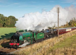 """A morning passenger train proceeds with the benefit of two powerful locomotives on its journey south."" 777 ""Sir Lamiel"" appears courtesy of the National Railway Museum. - Photo © John Smith."
