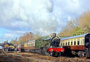 """""""Bright sunshine sets the scene as 4953 'Pitchford Hall' works a train away from Rothley."""" - Photo © Syd Hancock."""