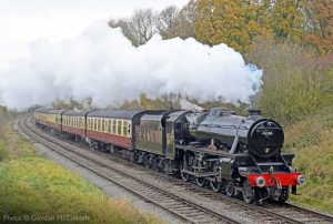 """""""With steam in abundance, Stanier Class 5 45305 hauls a southbound passenger train on the Great Central."""" - Photo © Gordon McCulloch."""