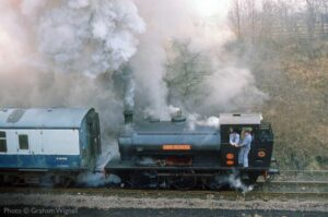 """""""An atmospheric scene from earlier days of preservation sees Robert Nelson No.4 working a train at Rothley."""" - Photo © Graham Wignall."""