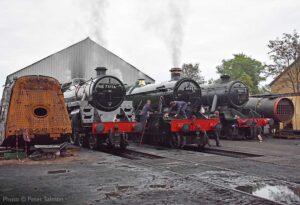 """""""Finishing touches... Fine examples of the steam locomotive fleet are prepared for another day of service."""" - Photo © Peter Salmon."""
