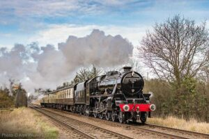 """""""Stanier's Class 5 4-6-0s were built from 1934 to 1951 and proved to be a highly successful design of mixed traffic locomotive. Several survivors of the class have enjoyed renewed popularity on preserved railways."""" - Photo © Alan Weaver."""