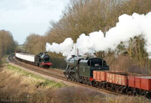 """""""The LNWR 7F 0-8-0s and LMS 8F 2-8-0s both played important roles in hauling the nation's freight during the war years. This weekend was due to be our annual 1940s Wartime Weekend.... an event that we're looking forward to staging again in the future when the present situation improves."""" - Photo © John Smith."""