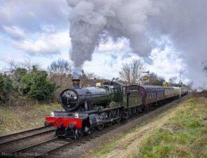 """""""A Manor makes an impressive and atmospheric departure from Loughborough Central with a passenger train."""" - Photo © Stephen Bottrill."""