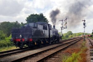 """""""Careful steps towards return... 78018 at Swithland Sidings while on test in May 2020."""" - Photo © Great Central Railway/AJM."""