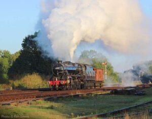 """""""In the morning sunshine at Swithland Sidings, an engine and brakevan arrive to collect a mixed freight train."""" - Photo © Ken Simms."""