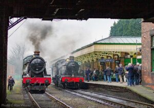 """""""Standing ready for action... Two Halls await their next duties at Loughborough Central, accompanied by the rhythmic clicks from nearby camera shutters."""" - Photo © Alan Weaver."""