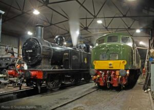 """""""Generations of Midland motive power... Popular Fowler 3F 47406 of the 1920s stands ready for duty beside Peak Type 4 D123 of the 1960s."""" - Photo © Stephen Bottrill."""