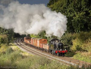 """""""A pleasant afternoon in the Leicestershire countryside sees a short freight train making its way forward in picturesque surroundings."""" - Photo © John Smith."""