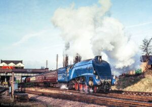 """""""The fine sight of a Gresley A4 Pacific... 4498 'Sir Nigel Gresley' departs from Loughborough Central with a passenger train."""" - Photo © John Bagshaw."""
