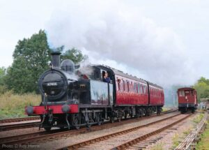 """""""East Midlands local... Ex-LMS Fowler 3F 47406 hauls two suburban coaches towards Rothley on a busy afternoon at the Great Central."""" - Photo © Roy Harris."""