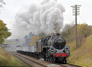 """""""The nation's freight by rail... A British Railways Standard Class 5 hauls a mineral train through Leicestershire in impressive style."""" - Photo © Gordon McCulloch."""