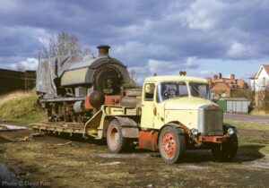 """""""Looking back to 1973, Hawthorn Leslie 0-4-0ST 'Marston, Thompson & Evershed Number 3' stands on a low-loader at Quorn & Woodhouse."""" This loco has since left the GCR and is believed to be under overhaul. - Photo © David Putt."""