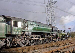 """Locomotives at work... BR Standard Class 9F 92214 passes Ivatt Class 2 46521 at Swithland Sidings."" - Photo © Syd Hancock."