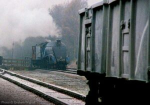 """""""A4 Pacific 4498 'Sir Nigel Gresley' is the focus of a scene from the past at Swithland Sidings, prior to the reinstatement of double-track. 16T mineral wagons stand on what is once again the Down Main Line today."""" - Photo © Graham Wignall."""