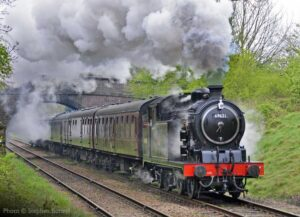 """""""Continuing today's tank engine theme, popular visiting N7 69621 steams away from Loughborough Central with a passenger train."""" - Photo © Stephen Bottrill."""
