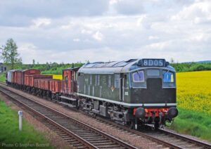"""""""Sulzer Type 2 D5185 is pictured in an early British Railways livery while hauling a mixed freight train on the Great Central."""" - Photo © Stephen Bottrill."""