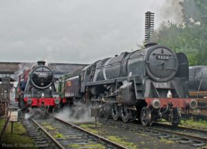 """""""A busy morning on shed as locomotives are prepared for another day.""""- Photo © Stephen Bottrill."""