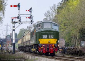 """""""Peak performance... Sulzer Type 4 D123 'Leicestershire & Derbyshire Yeomanry' works a southbound passenger train away from Rothley."""" - Photo © Stephen Bottrill."""