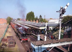 """""""A busy day at Loughborough Central sees Stanier Class 5 45305 preparing to depart from the Down Loop with a goods train."""" - Photo © Ian Morley."""