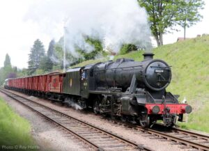 """Stanier Class 8 48624 leads a fitted freight train through the cutting on the northern approach to Rothley Station."" - Photo © Roy Harris."